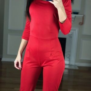 7b3c3a226e7 Piao Liang Fu Shi Pants - Sexy Open Back Full Body Jumper Jumpsuit Red M